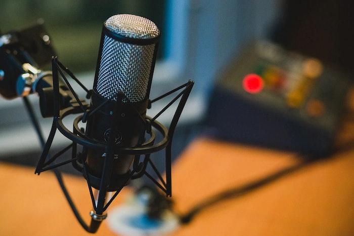 condenser microphone in a recording studio