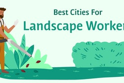 illustrated man holding leaf blower around shrubs and bushes with 'best cities for landscape workers' above