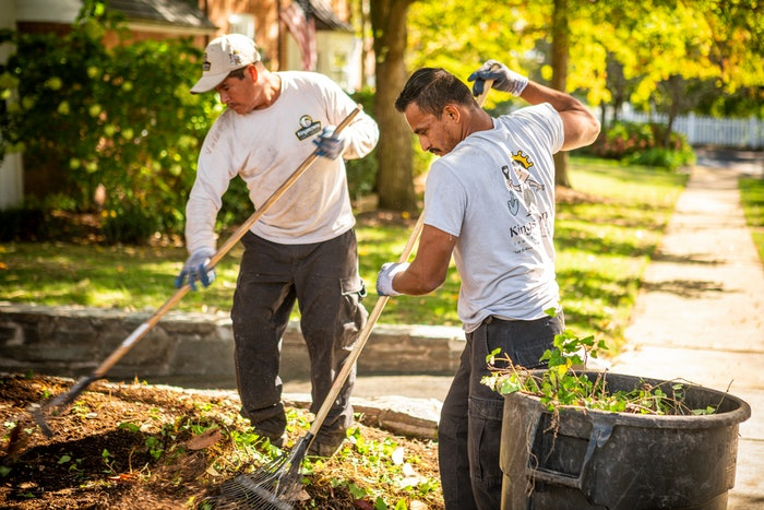Two lawn care professionals landscaping a yard