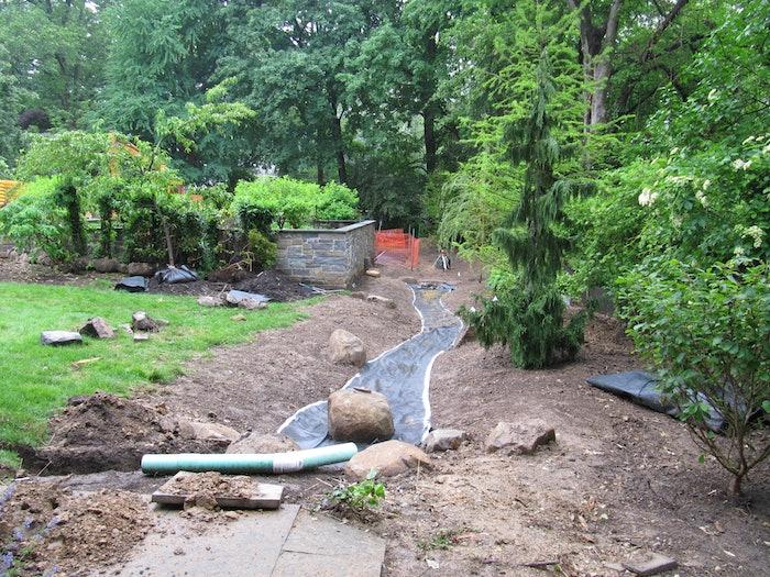 landscaping work in progress in yard
