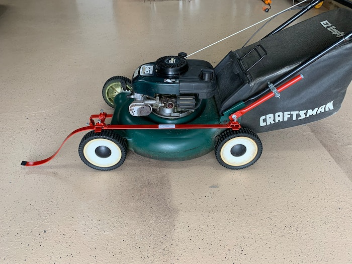 The lawnmower fender attached to lawn mower