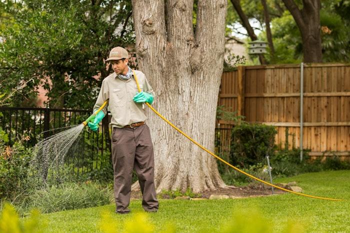 lawn technician spraying lawn
