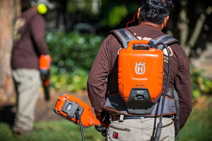 terren landscapes' employees using batter-powered husqvarna equipment
